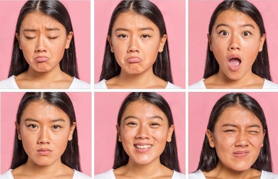Coleção de emoções e expressões faciais Foto gratuita